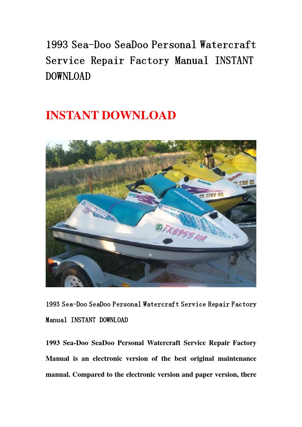 1993 seadoo xp owners manual