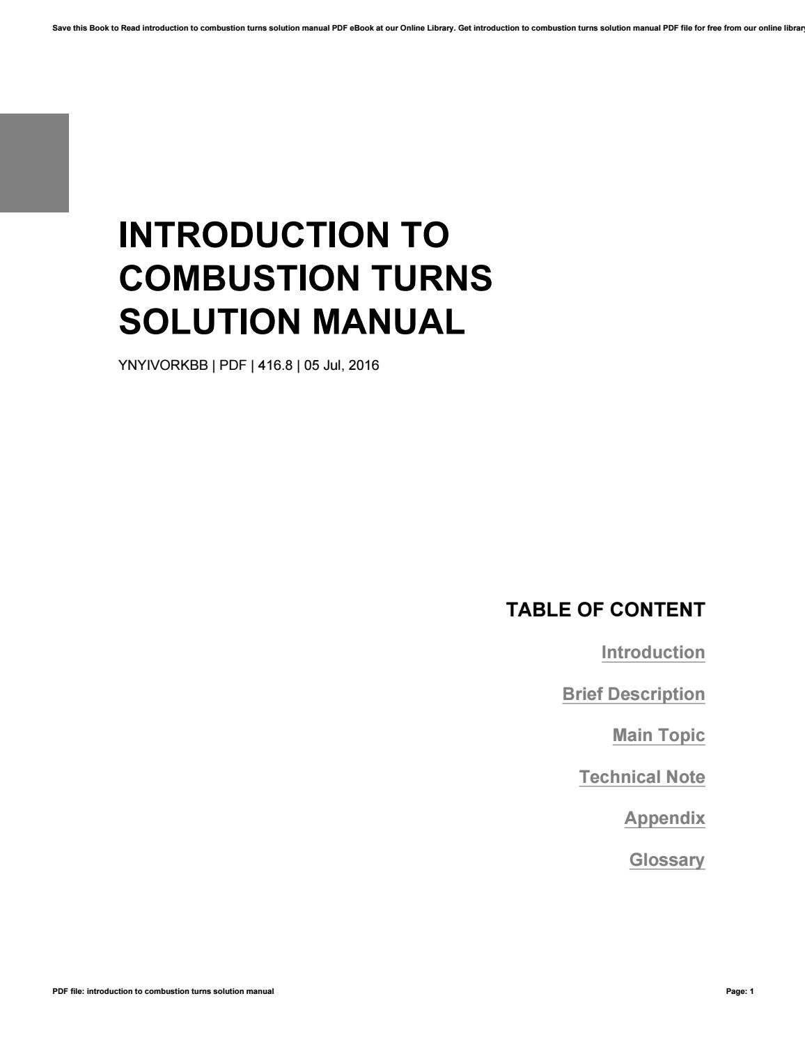 introduction to combustion solution manual